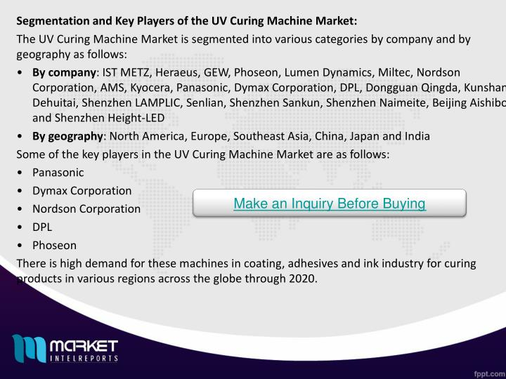 Segmentation and Key Players of the UV Curing Machine Market: