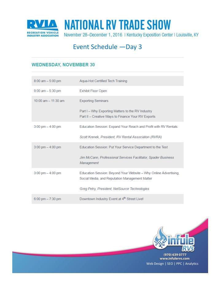 Event Schedule —Day 3
