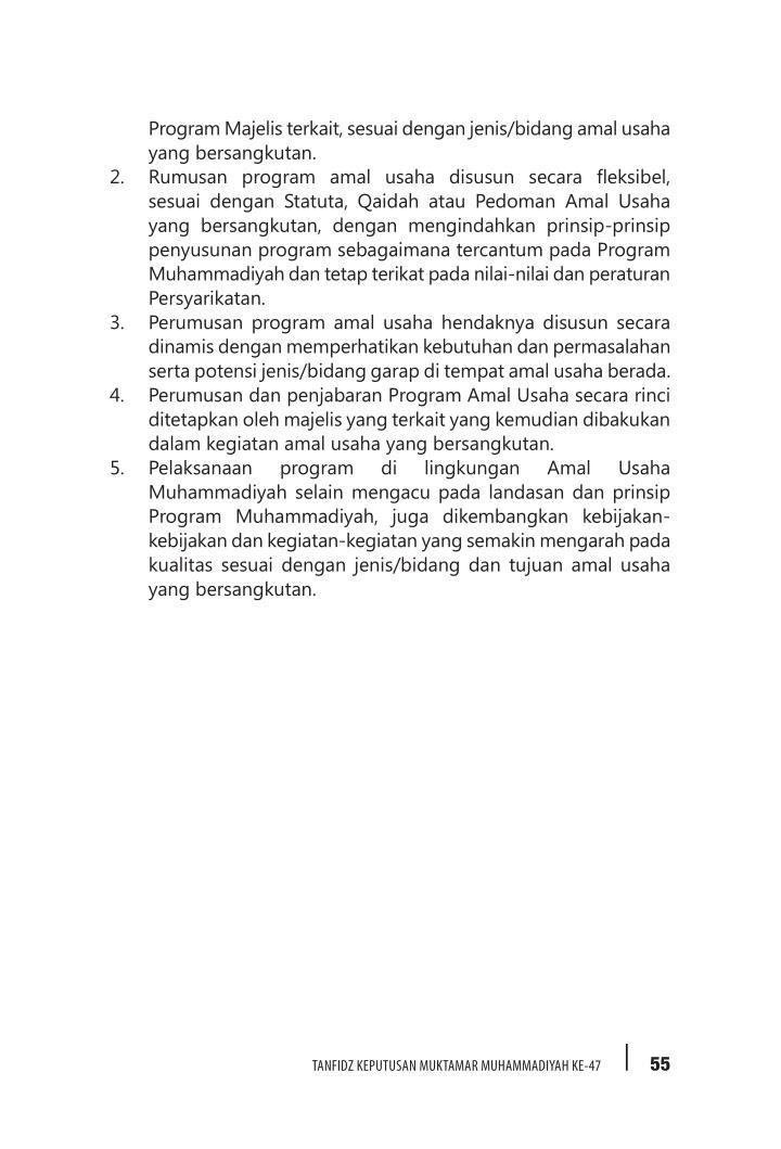 Program Majelis terkait, sesuai dengan jenis/bidang amal usaha