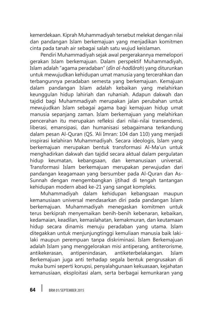 kemerdekaan. Kiprah Muhammadiyah tersebut melekat dengan nilai