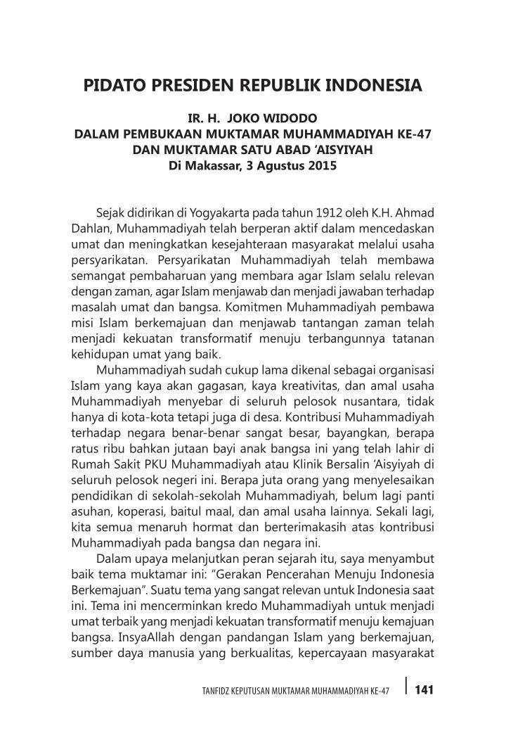 PIDATO PRESIDEN REPUBLIK INDONESIA