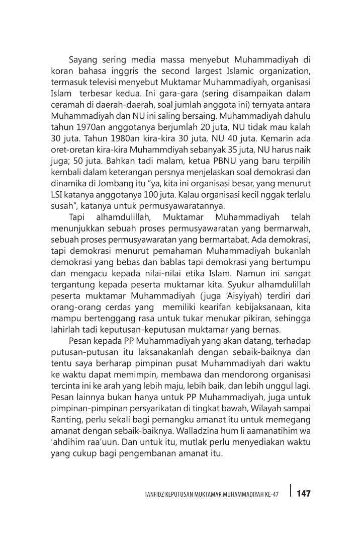 Sayang sering media massa menyebut Muhammadiyah di