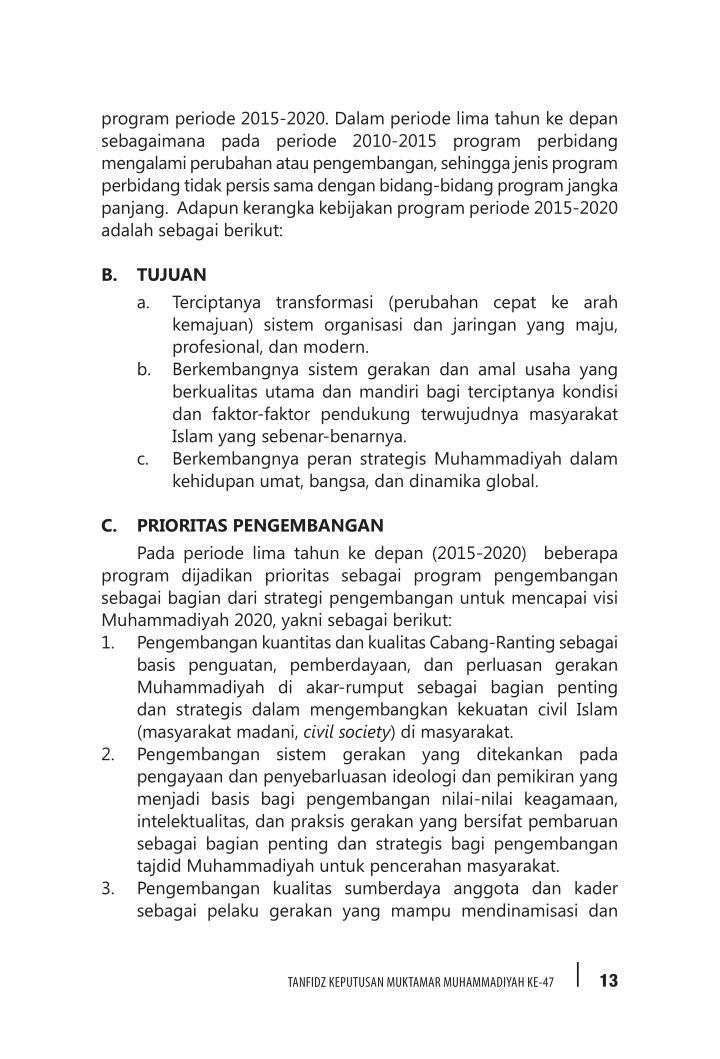program periode 2015-2020. Dalam periode lima tahun ke depan