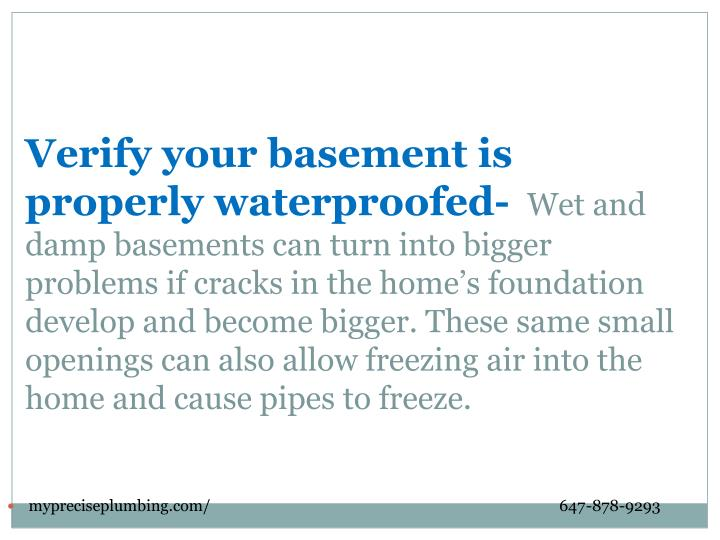 Verify your basement is properly waterproofed-