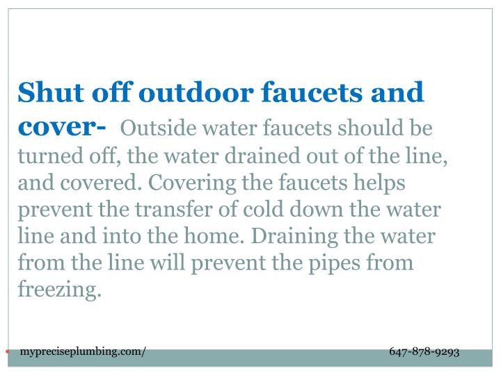 Shut off outdoor faucets and cover-