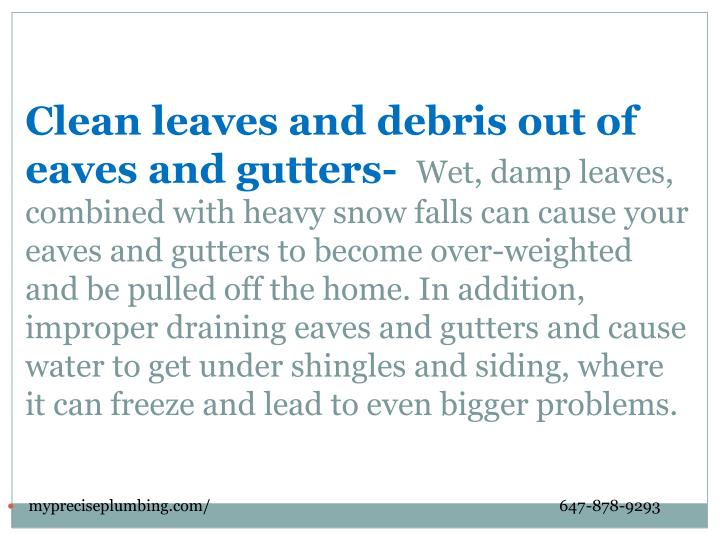 Clean leaves and debris out of eaves and gutters-