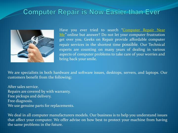 Computer repair is now easier than ever