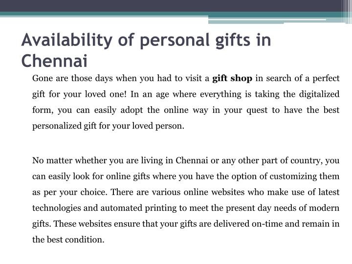 Availability of personal gifts in