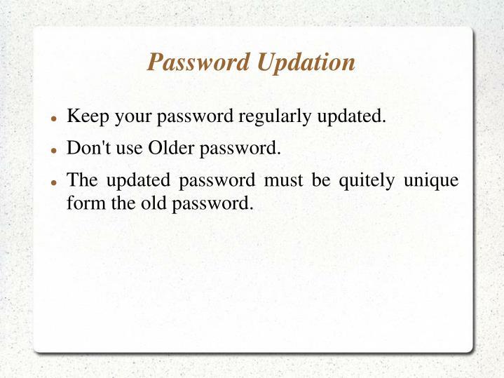 Password updation