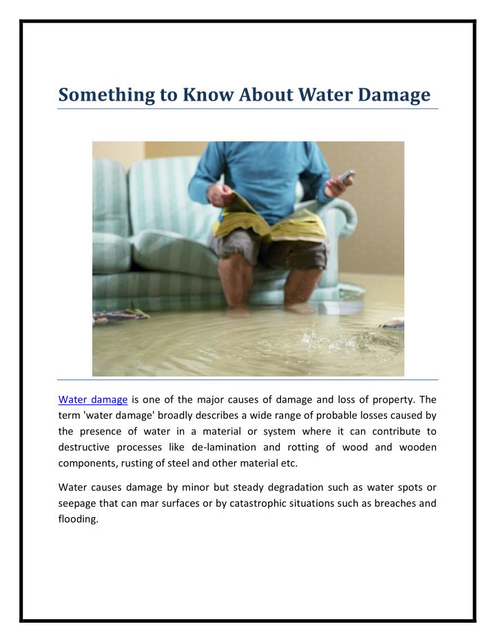 Something to Know About Water Damage