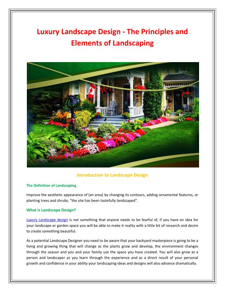 Luxury Landscape Design - The Principles and