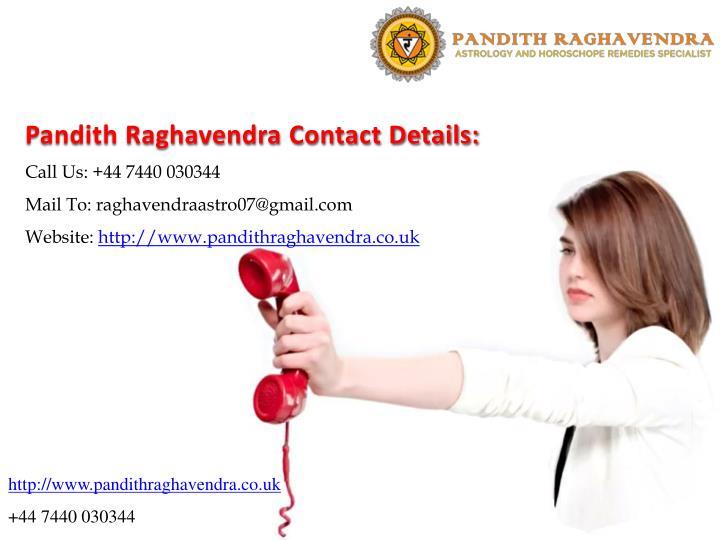 Pandith Raghavendra Contact Details: