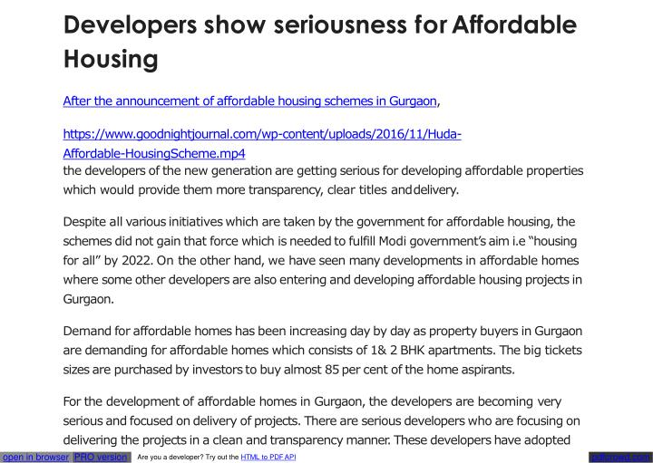 Developers show seriousness for affordable housing