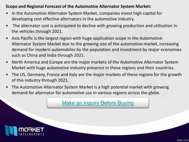Scope and Regional Forecast of the Automotive Alternator System Market: