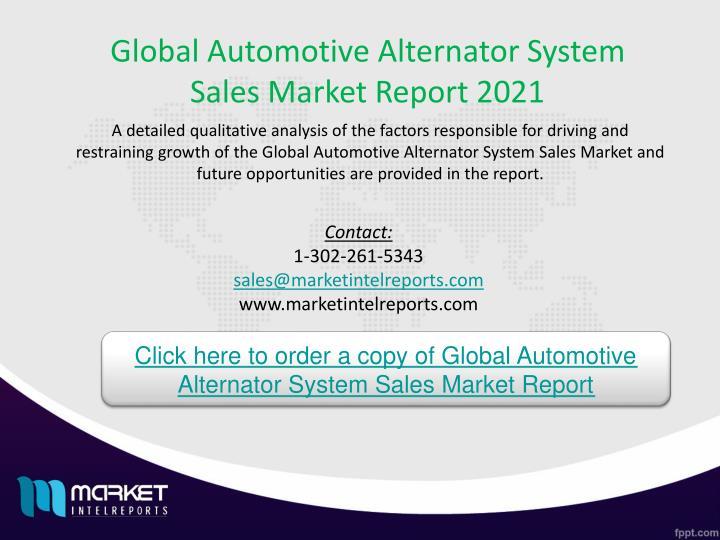 Global Automotive Alternator System Sales Market Report 2021