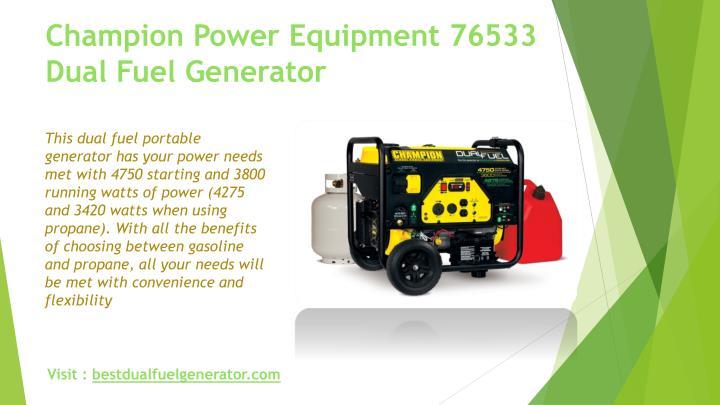 Champion Power Equipment 76533 Dual Fuel Generator