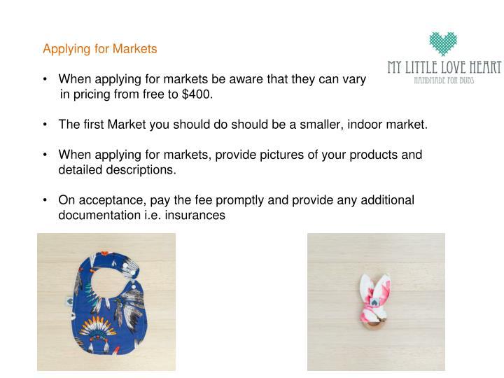 Applying for Markets