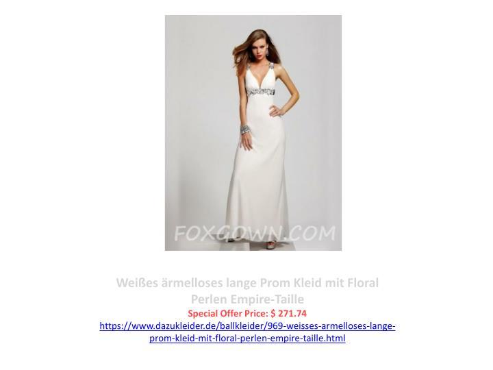 Weißes ärmelloses lange Prom Kleid mit Floral Perlen Empire-Taille