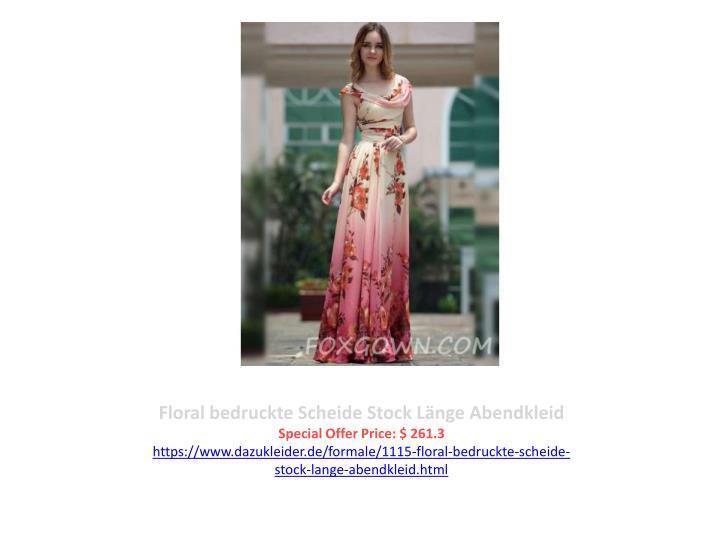 Floral bedruckte Scheide Stock Länge Abendkleid