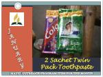 2 sachet twin pack toothpaste