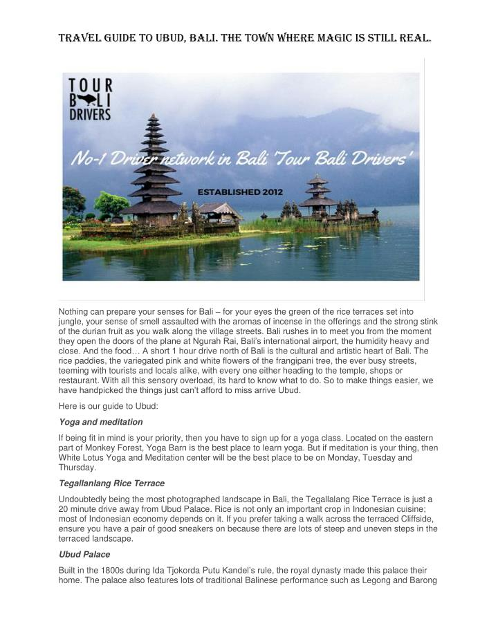 Travel Guide to Ubud, Bali. The town where magic is still real.