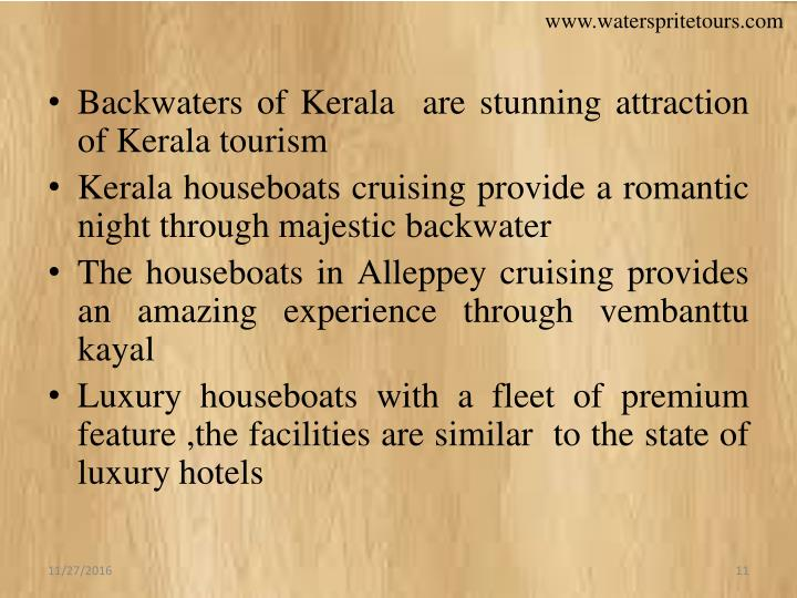 Backwaters of Kerala  are stunning attraction of Kerala tourism
