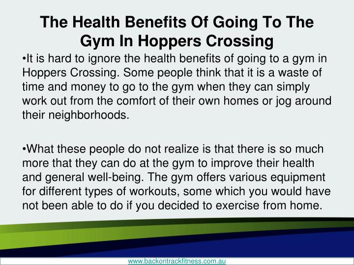The Health Benefits Of Going To The Gym In Hoppers Crossing
