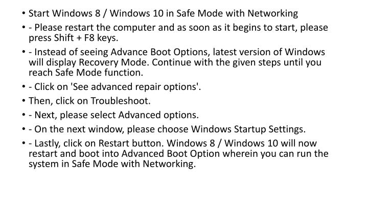 Start Windows 8 / Windows 10 in Safe Mode with Networking