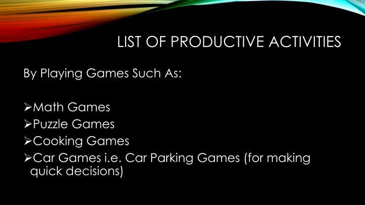 List of productive activities