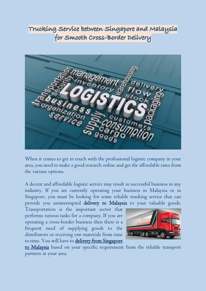 When it comes to get in touch with the professional logistic company in your