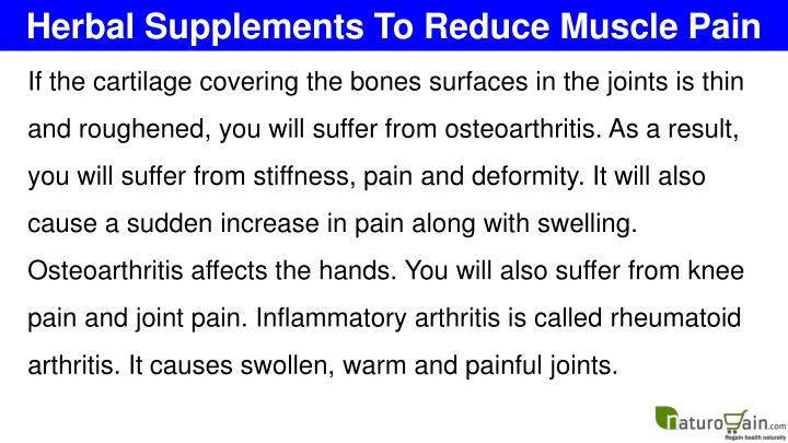 Herbal Supplements To Reduce Muscle Pain