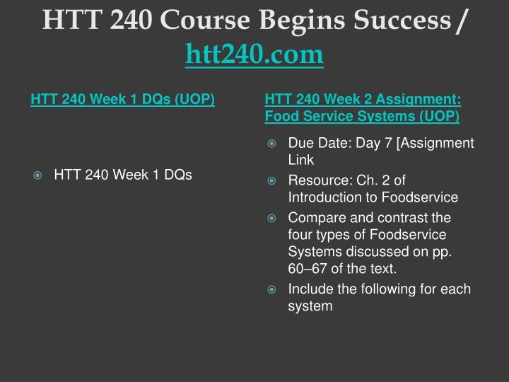 HTT 240 Course Begins Success /