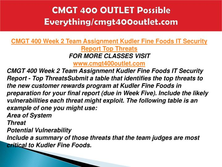 cmgt 400 Cmgt 400 week 2 individual assignment common information security threats cmgt 400 week 2 dq 2 cmgt 400 week 2 dq 1 cmgt 400 week 1 team ass see more.