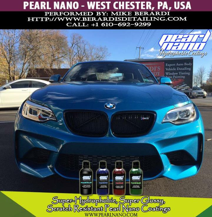 Shiny shimmering splendid bmw m2 after ceramic coated by mike berardi