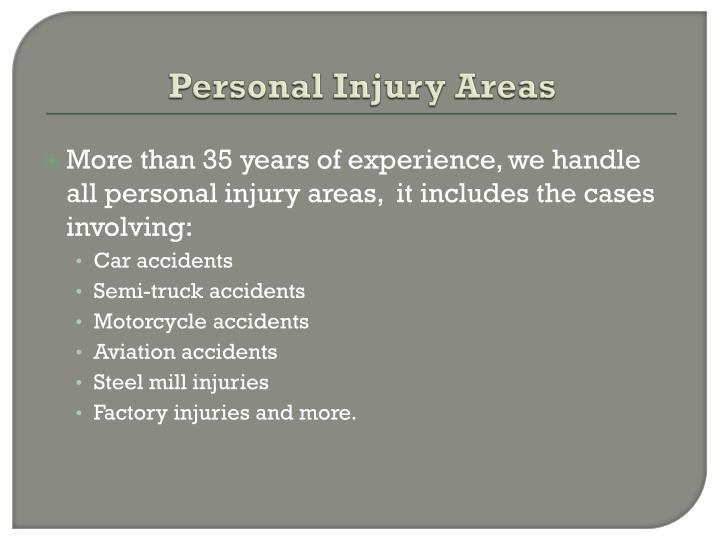 Personal Injury Areas