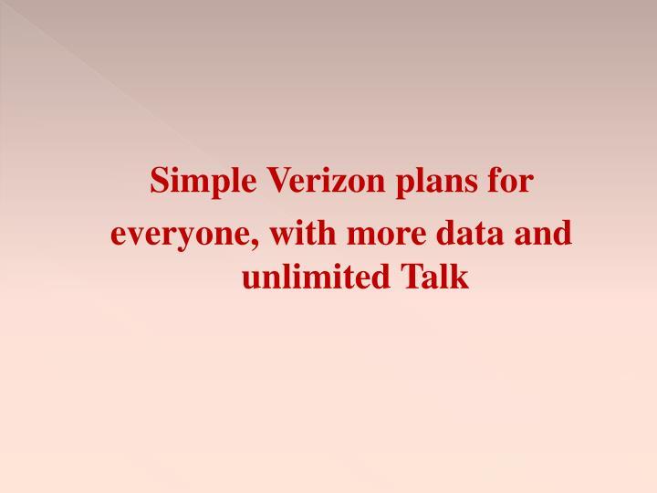Simple Verizon plans for