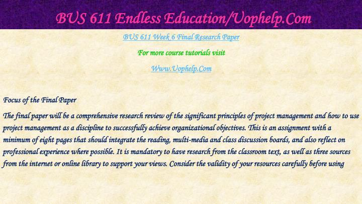 Bus 611 endless education uophelp com1