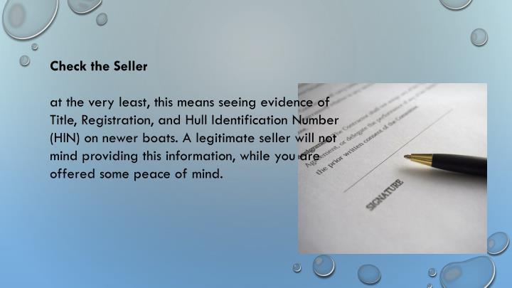 Check the Seller