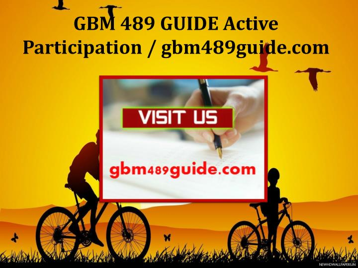 GBM 489 GUIDE Active Participation / gbm489guide.com