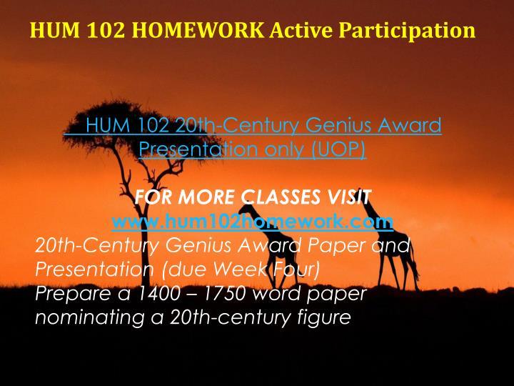 HUM 102 HOMEWORK Active Participation
