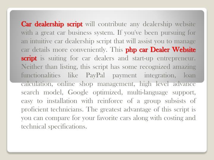 Car dealership script