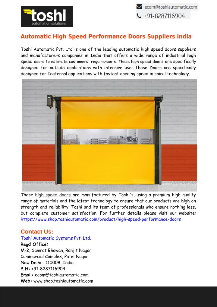 Automatic High Speed Performance Doors Suppliers India