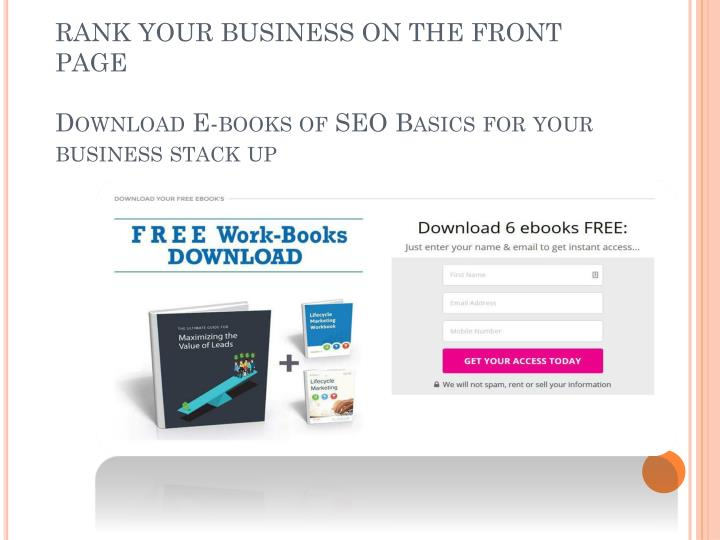 Rank your business on the front page download e books of seo basics for your business stack up