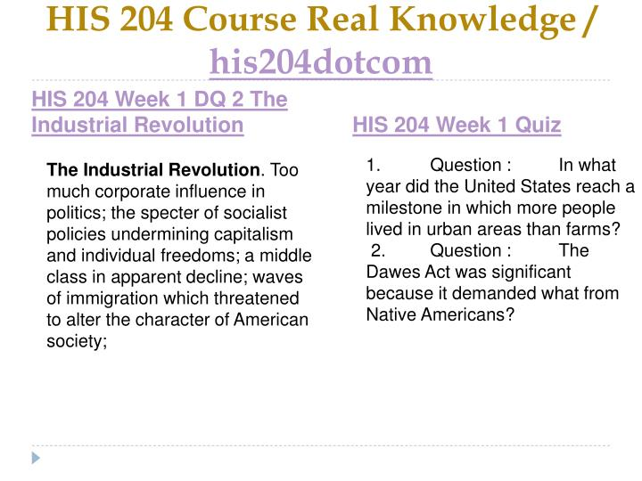 His 204 course real knowledge his204dotcom2