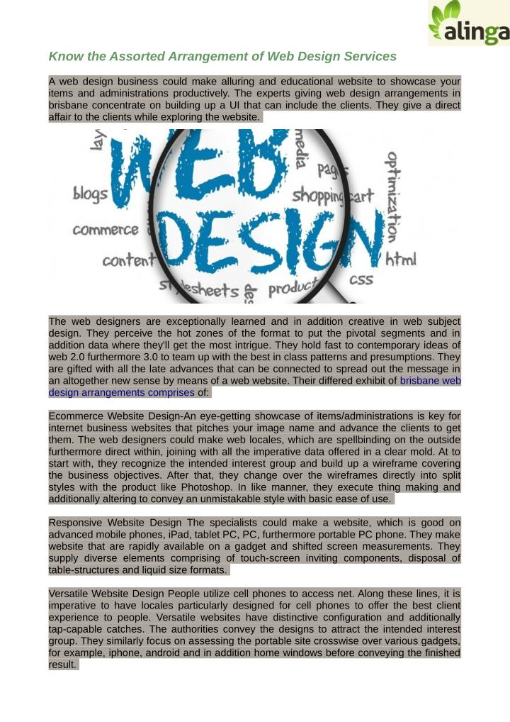 Know the Assorted Arrangement of Web Design Services