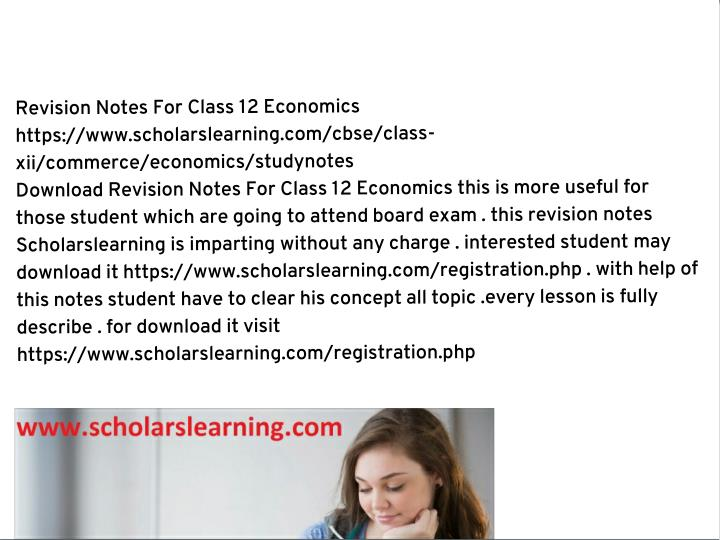 Revision Notes For Class 12 Economics