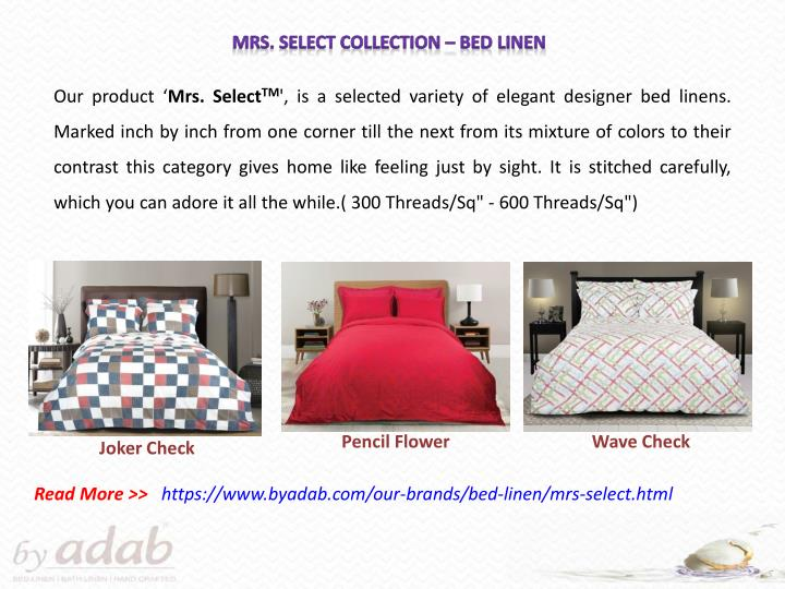 Mrs. Select Collection – Bed Linen