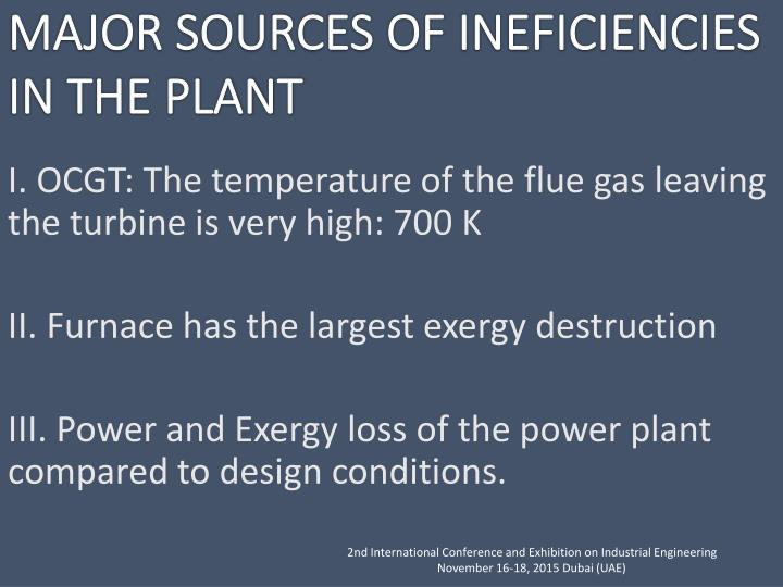 I. OCGT: The temperature of the flue gas leaving