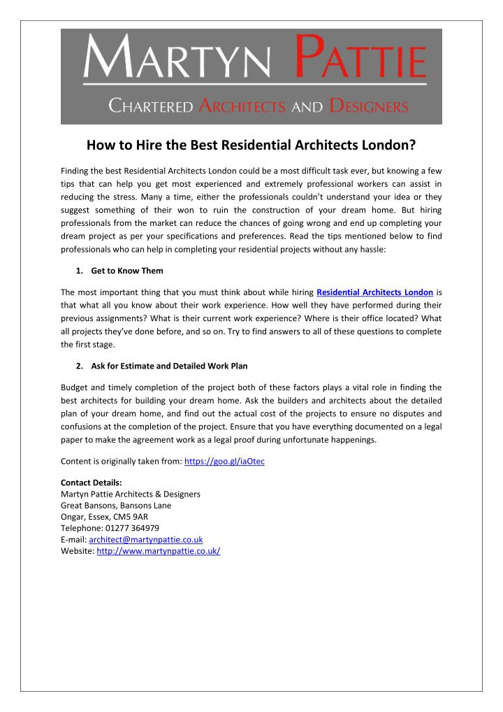 How to Hire the Best Residential Architects London?