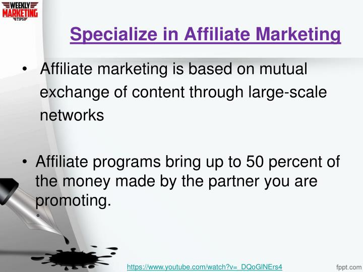 Specialize in Affiliate Marketing